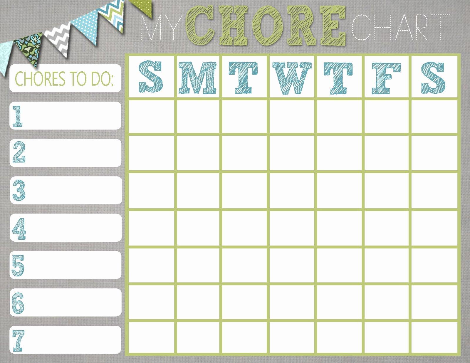Kids Chore Chart Template Fresh Chore Charts