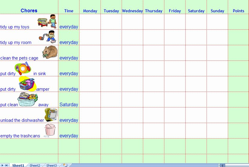 Kids Chore Chart Template Luxury Chore Charts for Kids