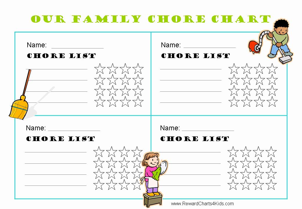 Kids Chore Chart Template Luxury Free Family Chore Chart