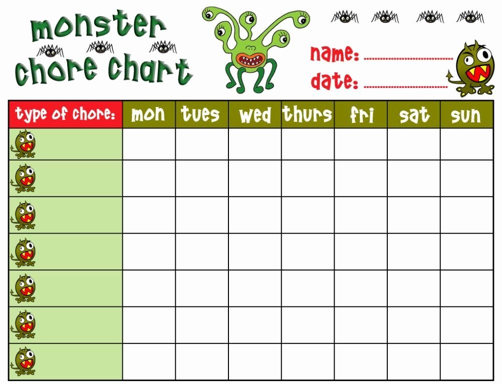 Kids Chore Chart Templates Inspirational Chore Charts for Kids Free Printable 1002×768