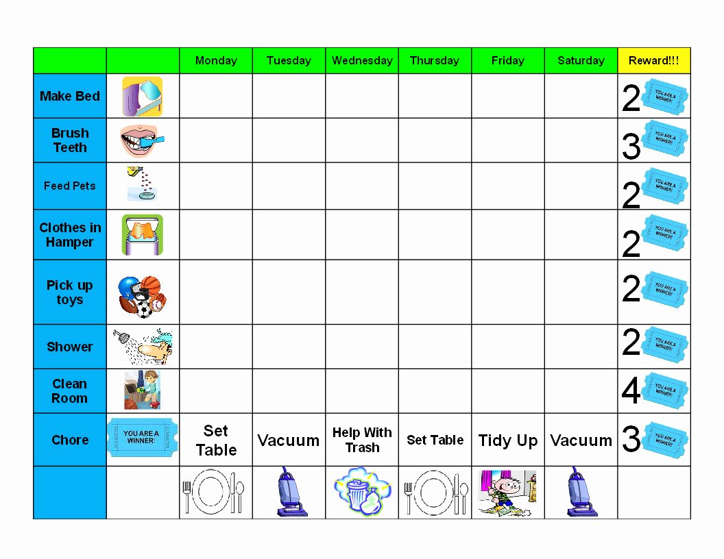Kids Chore Chart Templates New Antjie Rooibruin Hen Kids Good Behaviour Chore Chart