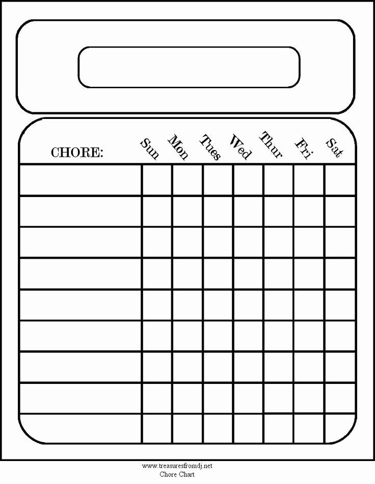 Kids Chore Chart Templates Unique Free Blank Chore Charts Templates