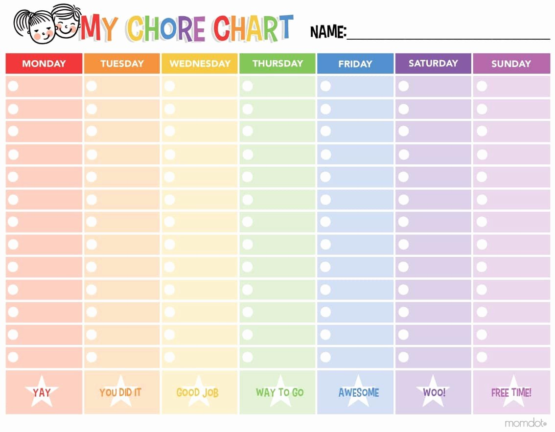 Kids Chore Chart Templates Unique Free Printable Chore Chart
