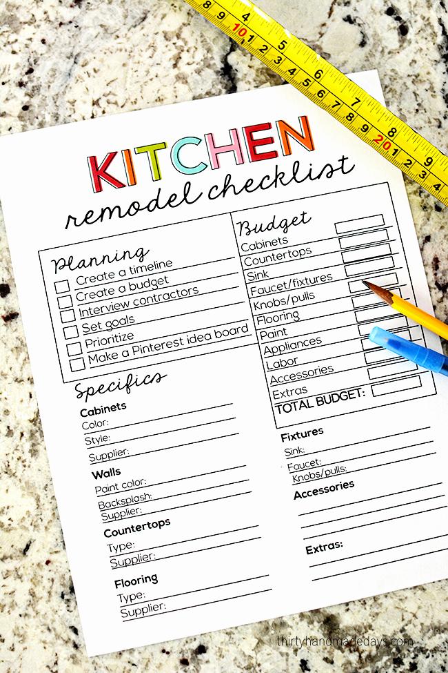 Kitchen Renovation Checklist Template Elegant Kitchen Remodel Checklist