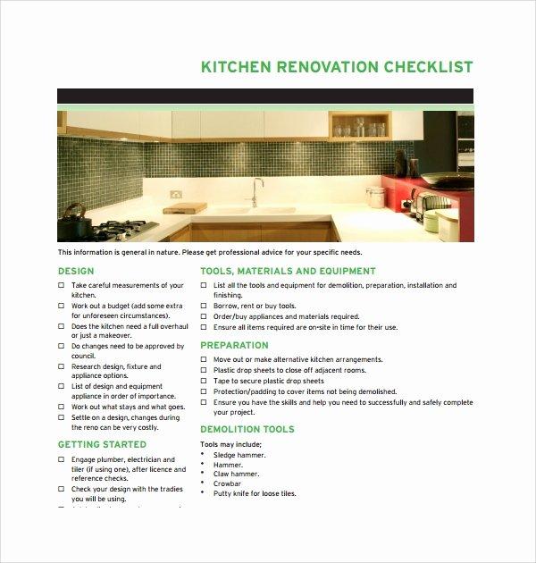 Kitchen Renovation Checklist Template Unique Sample Renovation Checklist Template 11 Free Documents