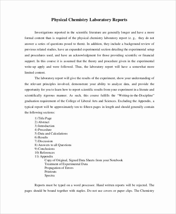 Lab Report Template Word Beautiful 13 Lab Report Templates Free Pdf Ms Word Apple Pages