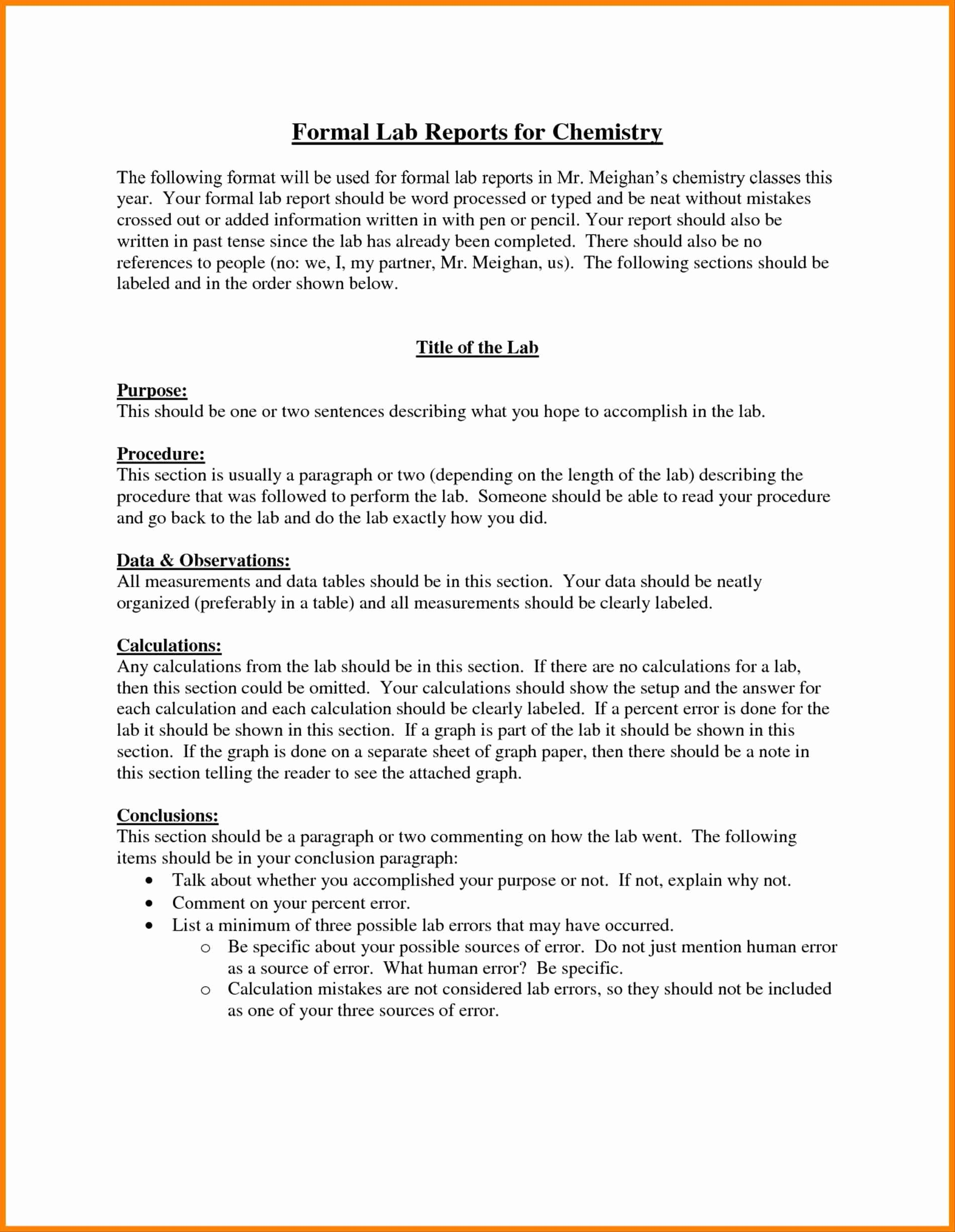 Lab Report Template Word Luxury Lab Report Template Microsoft Word