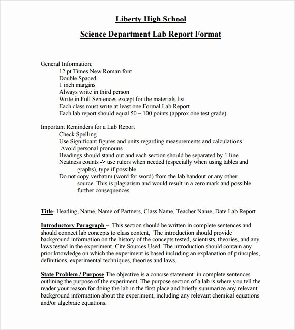 Lab Report Template Word New Free 11 Sample Lab Reports In Google Docs