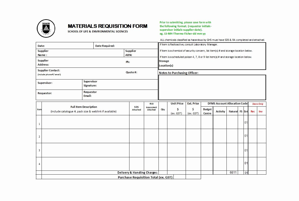 Lab Requisition form Template Elegant 50 Professional Requisition forms [purchase Materials Lab]