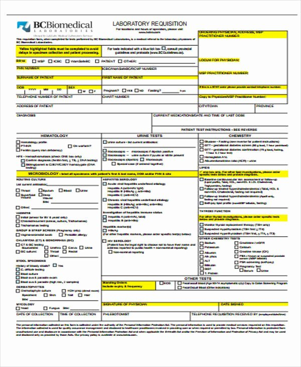 Lab Requisition form Template Lovely 43 Free Requisition forms
