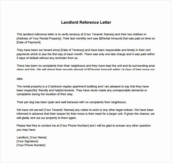 Landlord Reference Letter Template Fresh Landlord Reference Letter Template 8 Download Free