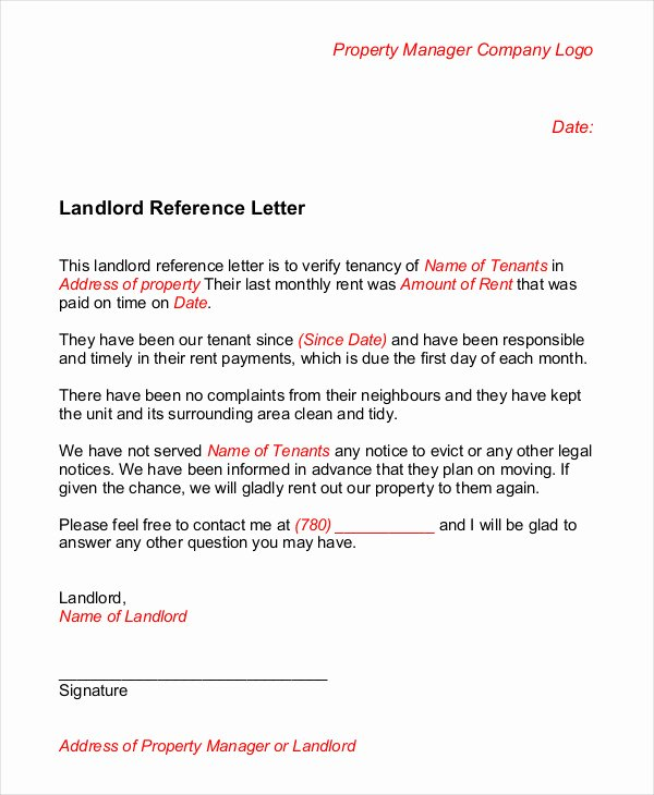Landlord Reference Letter Template Inspirational Landlord Reference Letter 5 Free Sample Example