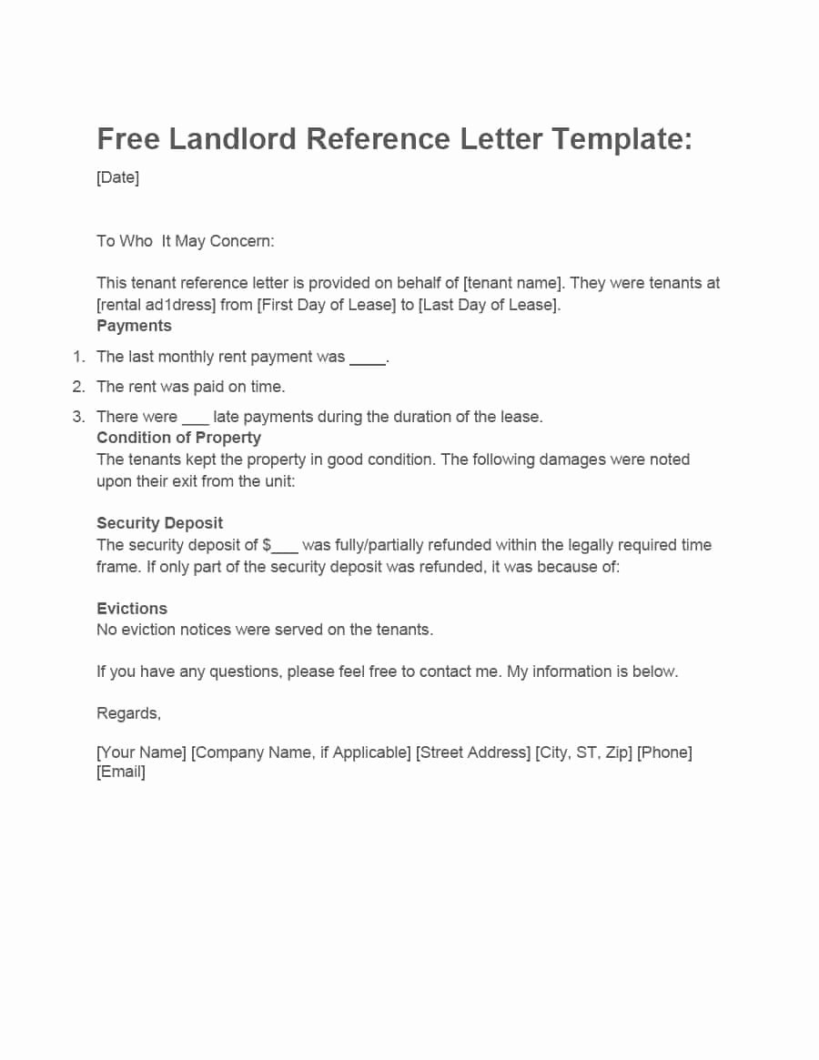 Landlord Reference Letter Template Lovely 40 Landlord Reference Letters & form Samples Template Lab