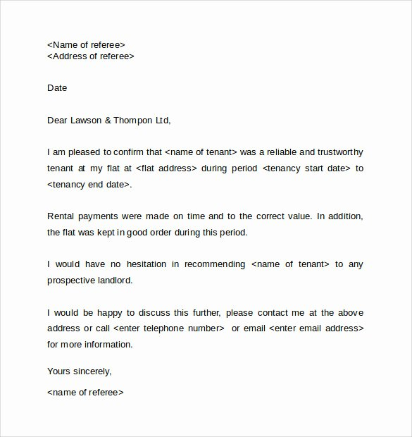 Landlord Reference Letter Template New Writing An Employee Reference for Landlord