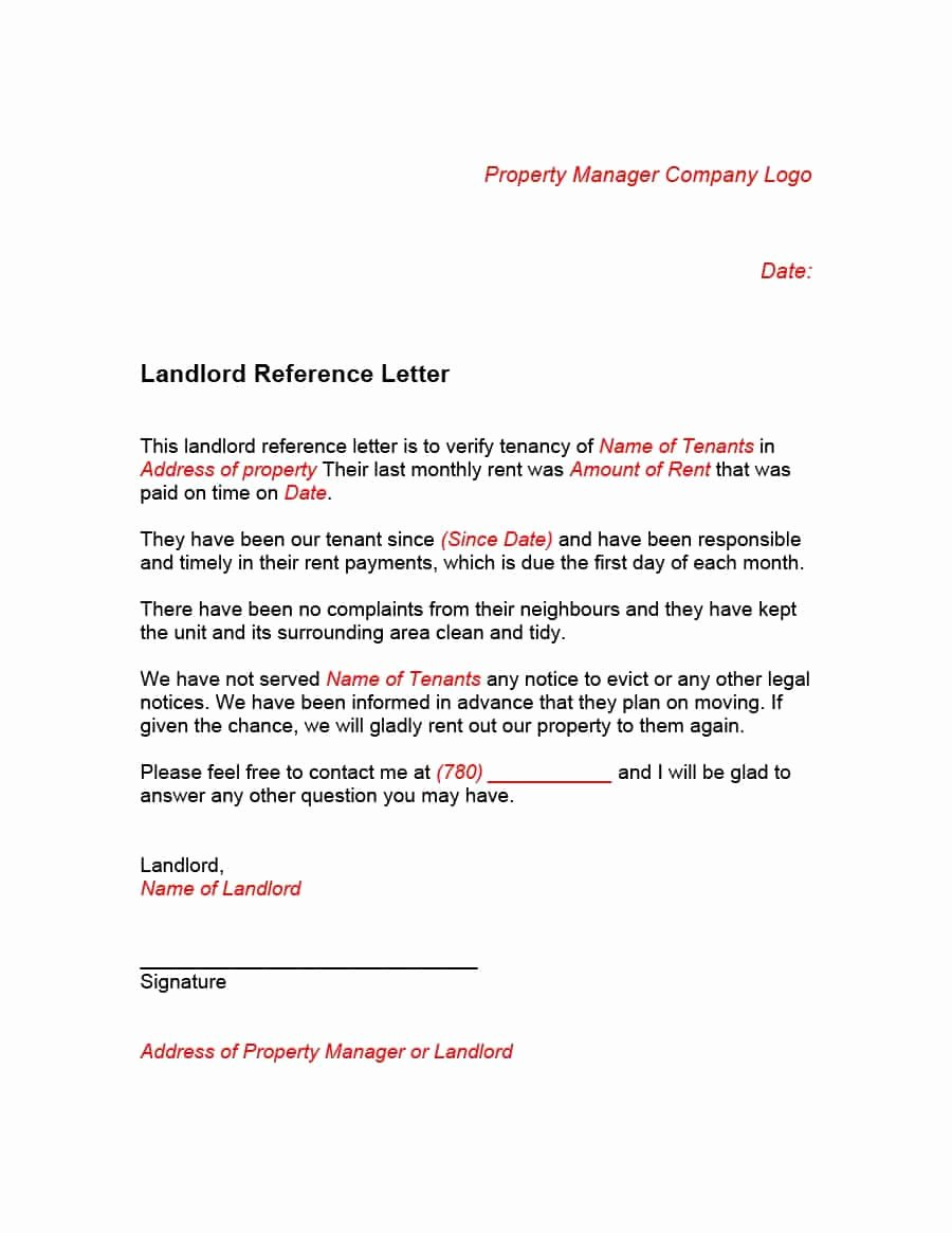 Landlord Reference Letter Template Unique 40 Landlord Reference Letters & form Samples Template Lab