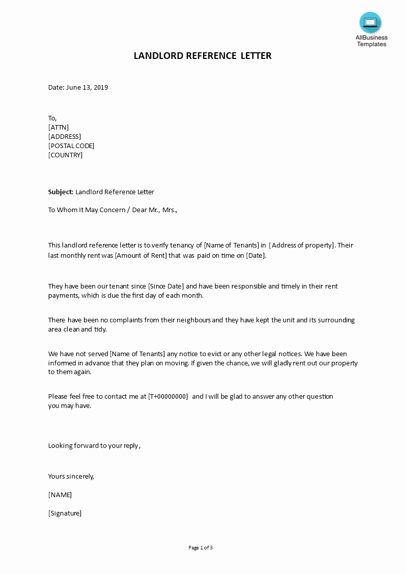 Landlord Reference Letter Template Unique Gratis Landlord Reference Letter