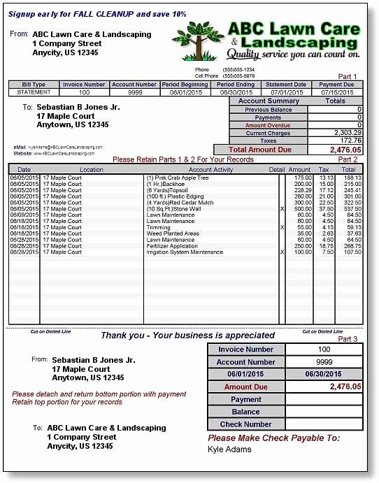 Landscaping Invoice Template Free Elegant Lawncare & Landscape Billing & Invoicing software