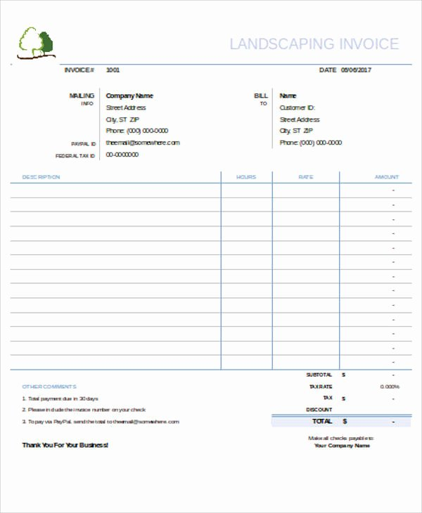 Landscaping Invoice Template Free Elegant Sample Landscaping Invoice 6 Examples In Pdf Word Excel