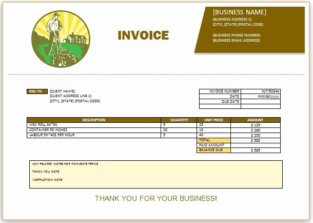 Landscaping Invoice Template Free Fresh 10 Best Landscaping Invoice Templates Images On Pinterest