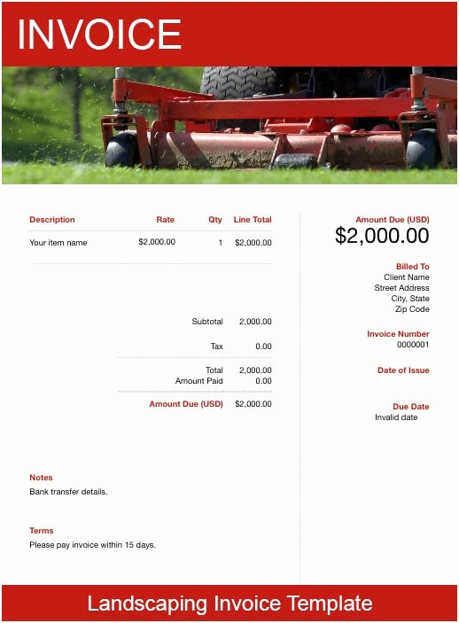 Landscaping Invoice Template Free Fresh Landscaping Invoice Template Free Download