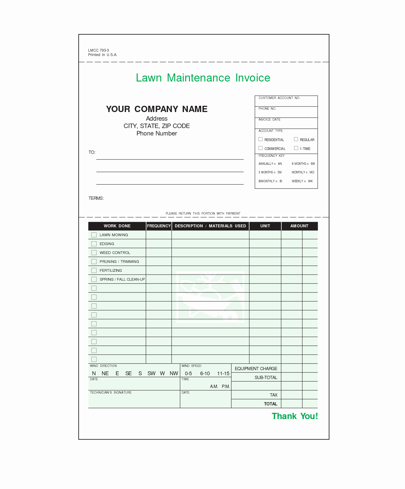 Landscaping Invoice Template Free Fresh Lawn Care Invoice Template