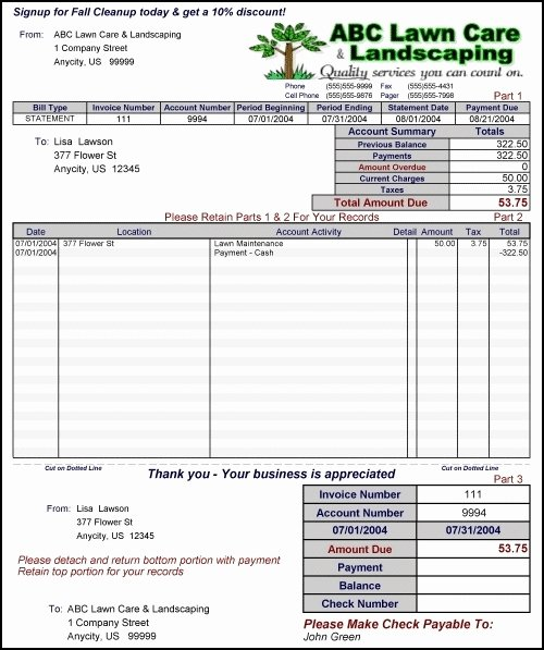 Landscaping Invoice Template Free Luxury Free Lawn Care Invoice Template