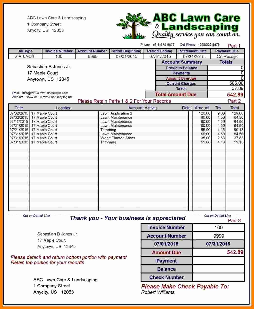Landscaping Invoice Template Free Unique 8 Landscaping Invoice Template