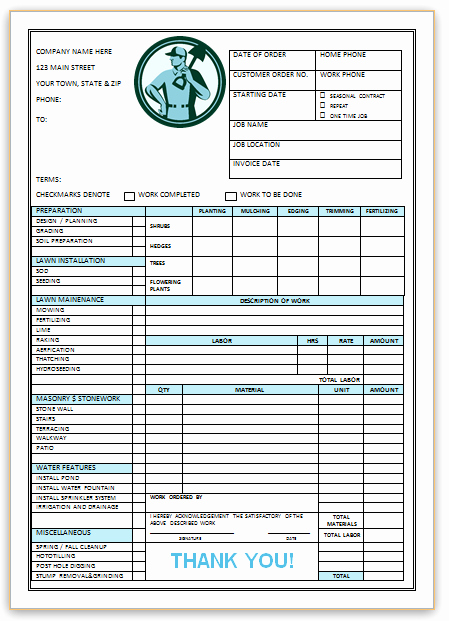 Landscaping Invoice Template Free Unique Landscaping Invoice Template 3