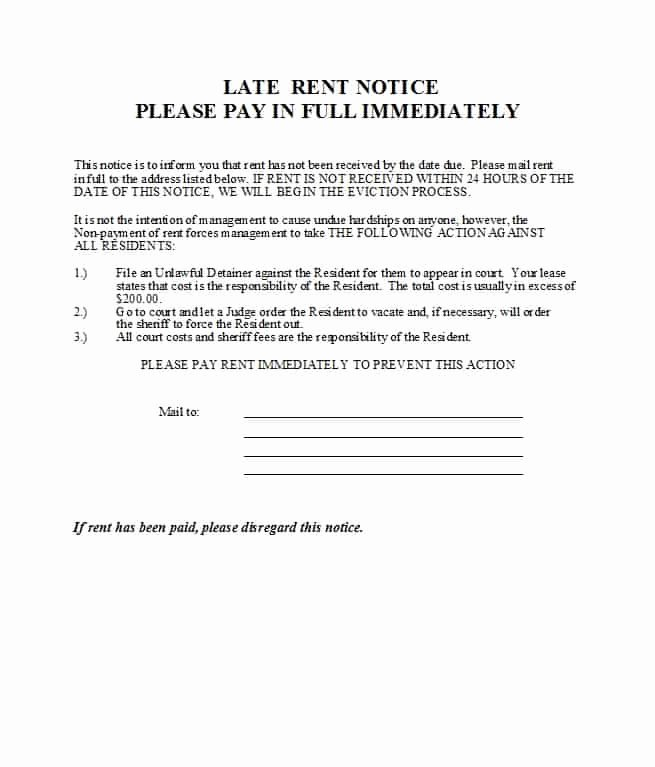 Late Rent Notice Template Free Beautiful 34 Printable Late Rent Notice Templates Template Lab