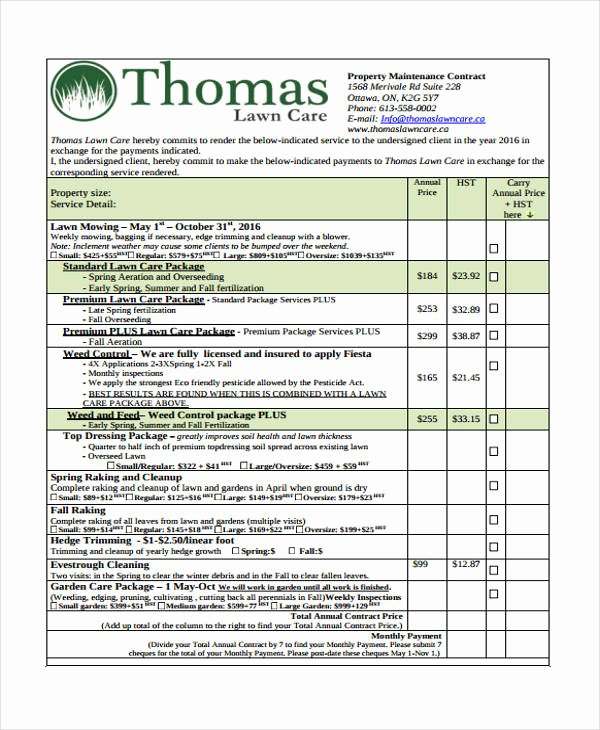 Lawn Care Contract Template Beautiful December 2018 – Cnbam