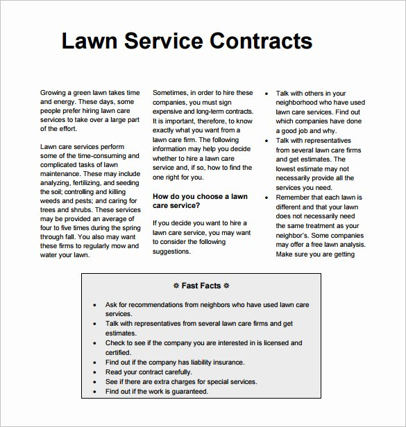 Lawn Care Contract Template Luxury 9 Lawn Service Contract Templates Pdf Doc Apple Pages