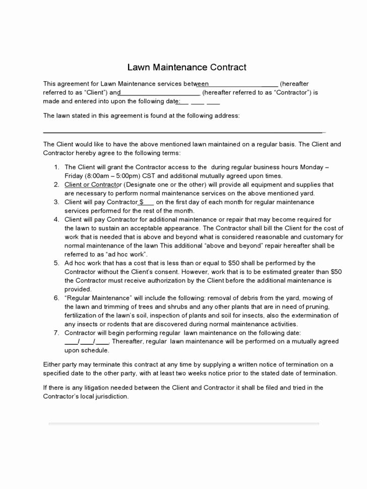 Lawn Care Contract Template Luxury Lawn Service Contract Templates