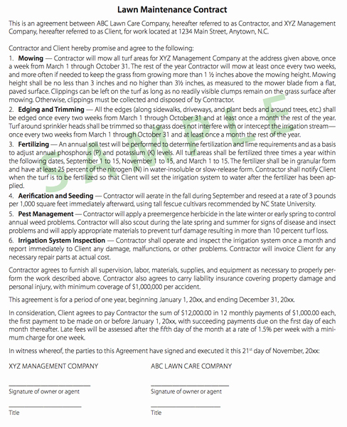 Lawn Care Contract Template Luxury Tips On Writing Turf Contracts and Landscape