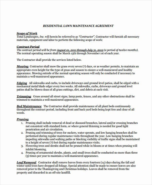 Lawn Care Contract Template New 10 Lawn Service Contract Templates Free Sample Example