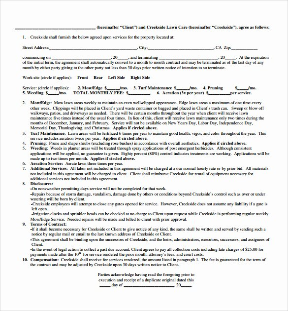 Lawn Care Contract Template New Plumbing Contract Template 11 Download Documents In Pdf