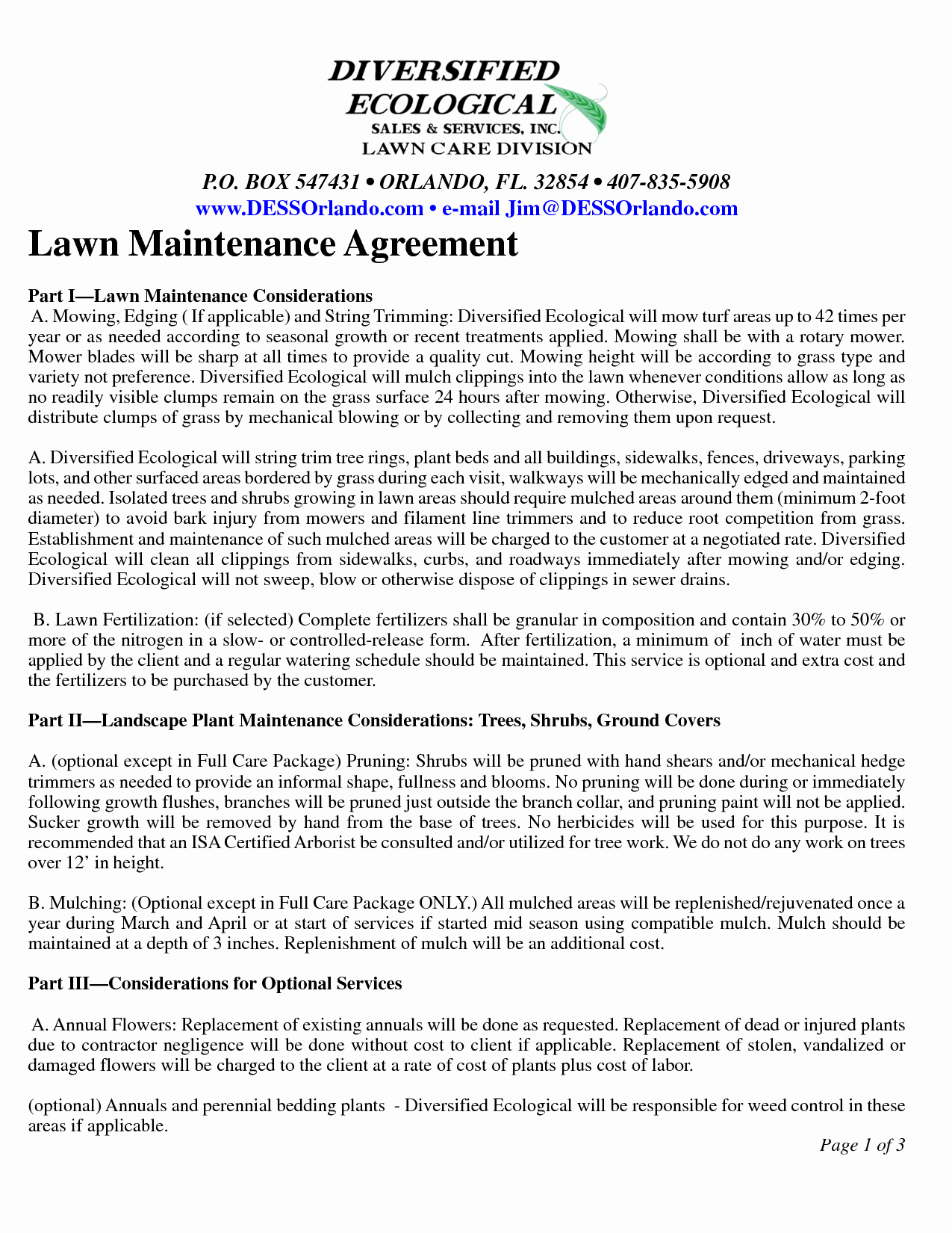 Lawn Care Contract Template Unique Lawn Maintenance Contract Agreement Free Printable Documents