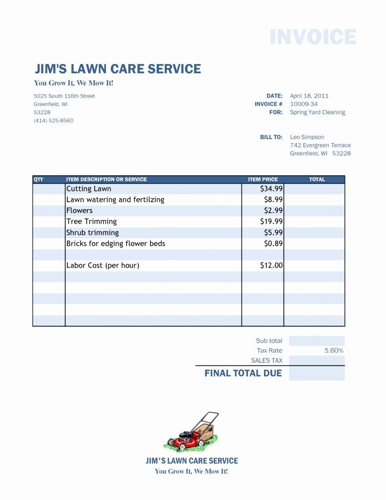 Lawn Care Invoice Template Awesome Lawn Care Invoice Template Word