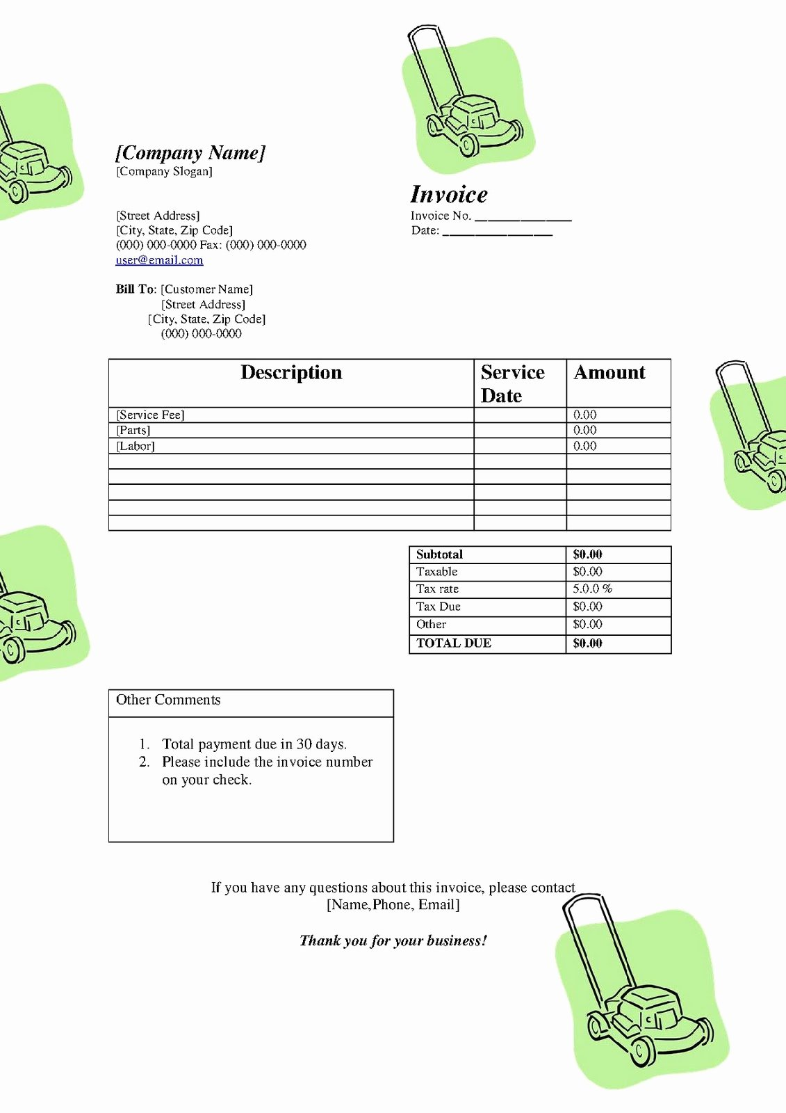 Lawn Care Invoice Template Beautiful Free Printable Templates Free Lawn Service Lanscaping