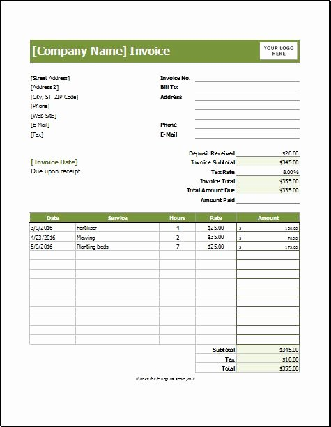 Lawn Care Invoice Template Lovely 39 Best Images About Microsoft Excel Invoices On Pinterest