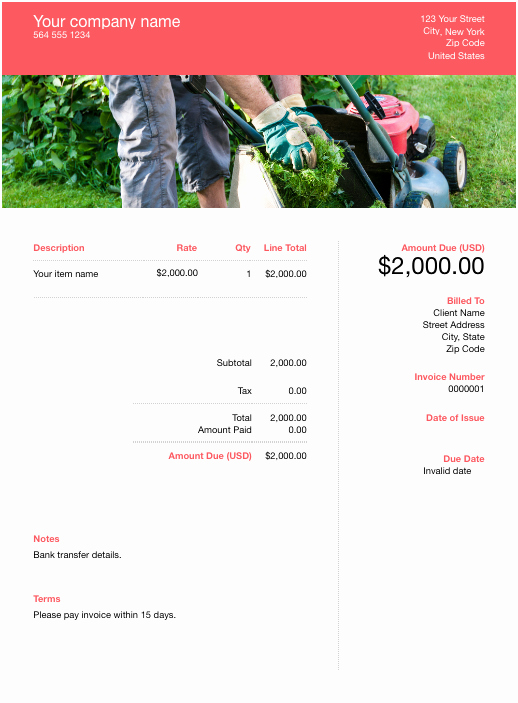 Lawn Care Invoice Template Lovely Free Lawn Care Invoice Template Download now
