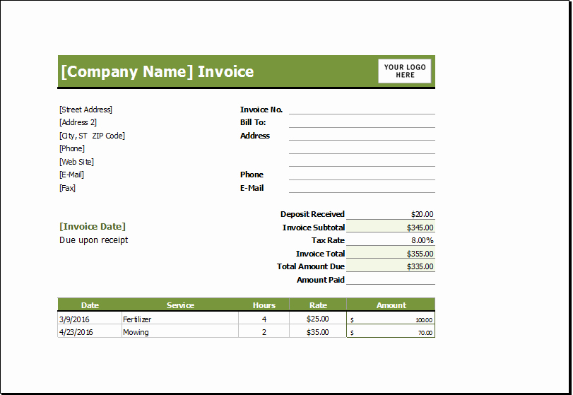 Lawn Care Invoice Template Luxury Lawn Mowing Receipt