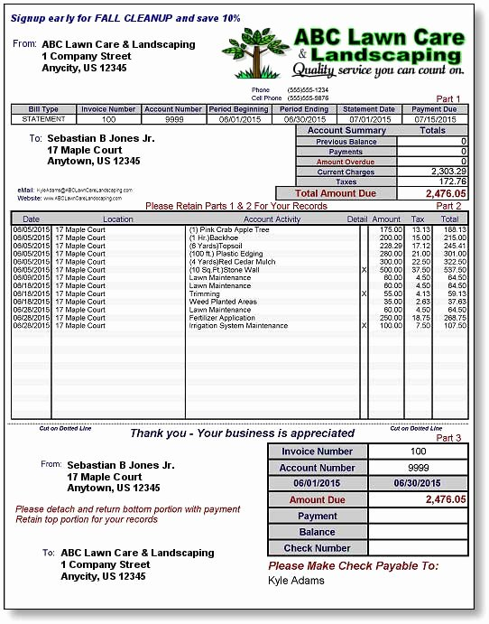 Lawn Care Invoice Templates Best Of Lawn Care Invoice Template