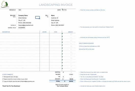 Lawn Care Invoice Templates Elegant Landscaping Invoice Template Free