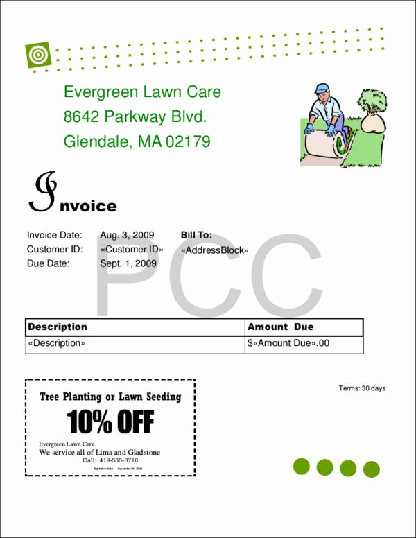 Lawn Care Invoice Templates Inspirational Free 9 Lawn Care Invoice Samples & Templates In Pdf
