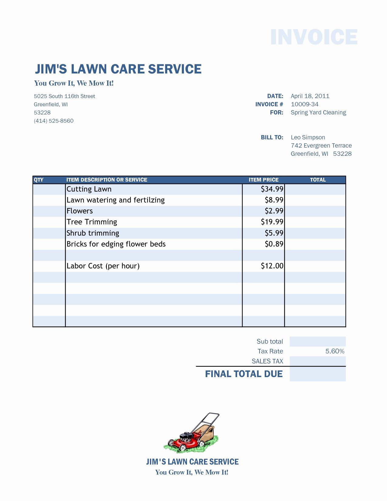 Lawn Care Invoice Templates Lovely Lawn Care Invoice Template