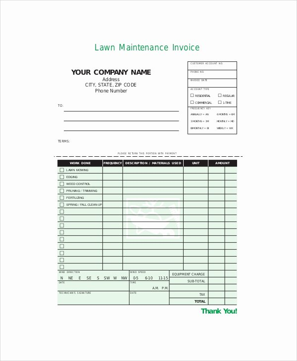 Lawn Care Invoice Templates Luxury Sample Service Invoice 7 Documents In Pdf Word Docs