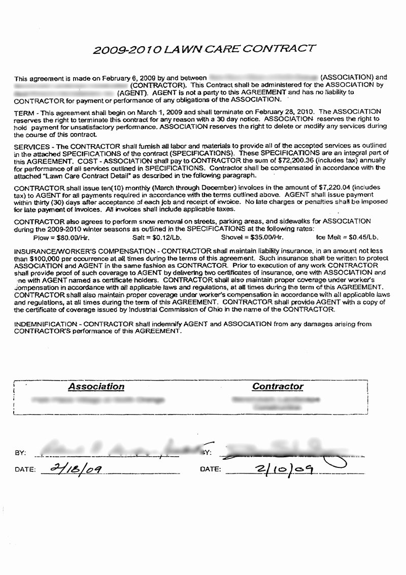 Lawn Service Contract Template Awesome Lawn Care Contract Free Printable Documents