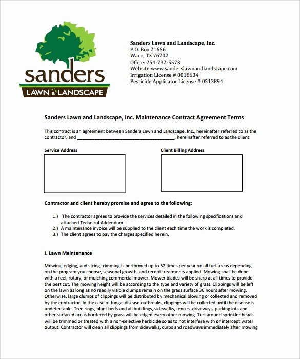 Lawn Service Contract Template Awesome Lawn Service Contract Template 11 Download Documents In