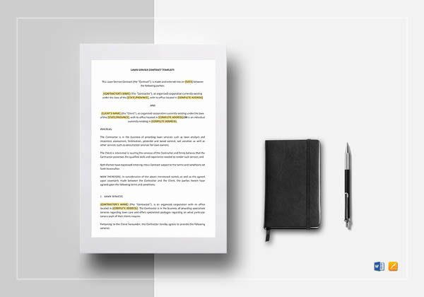 Lawn Service Contract Template Best Of Lawn Service Contract Template 11 Download Documents In