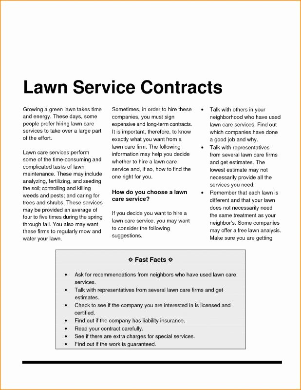 Lawn Service Contract Template Fresh Landscaping Contract Template